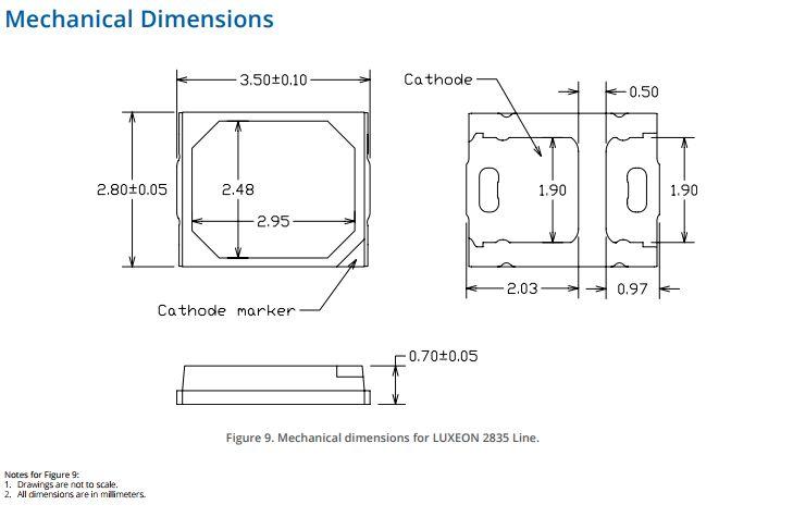 2835 hideg fehér, Luxeon 3V L128-6580CA3500001 LED-SMD 3528 CW tv 3V -