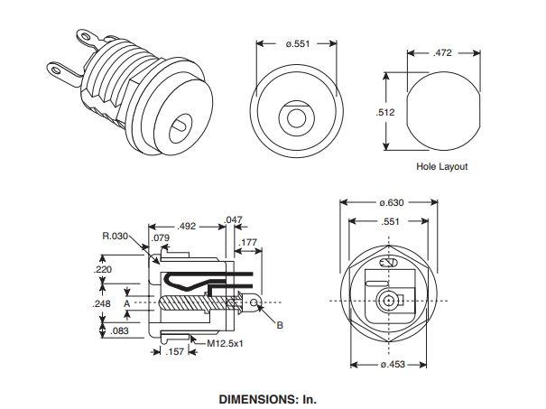 DC aljzat 5.5x2.1mm hátsó rögzítésű anyacsavaros CSAT-P008/BARREL2.1 -