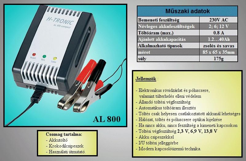 AL800 zselés akkumulátor töltő 2V, 6V, 12V ACCU CHARGER-45 -