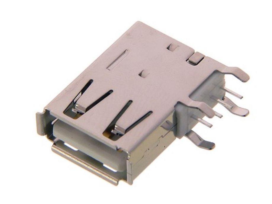 USB-A aljzat 4p. függőleges PCB (lábak 90°) CSAT-USB-A/90