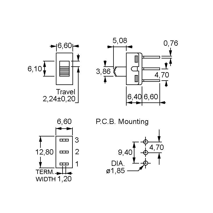 Tóló kapcsoló PCB 1x3p.12.7x6.6mm (1 áramkörös) SW18002P -
