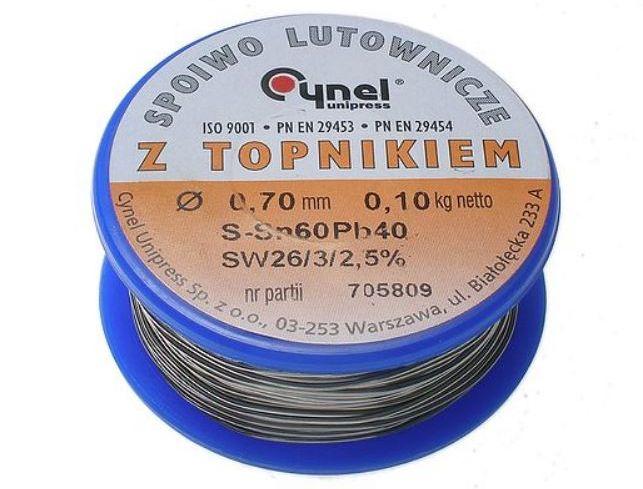 Forrasztó ón 0.7mm Sn60/Pb40% 100g Flux 2.5% TIN 100GR 0.7/2.5