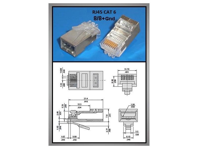 RJ45 FTP/SFTP dugó 8p/8c árnyékolt, CAT6 (lapos és kerek kábelhez) CSAT-T004-FTP V