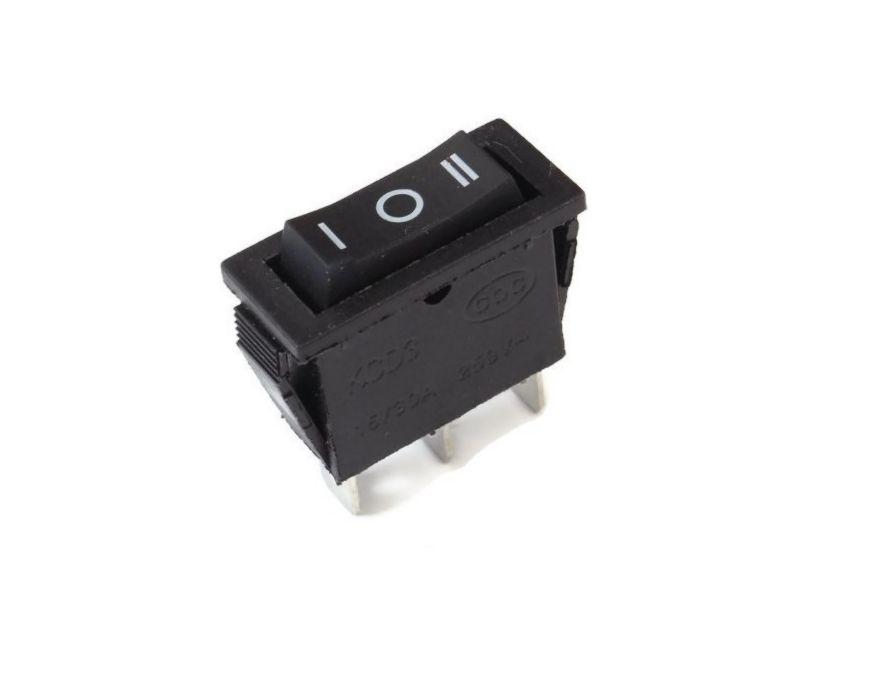 Billenő fekete I/O/II 1 áramkörös rugós (ON)-OFF-(ON) SW2132/A