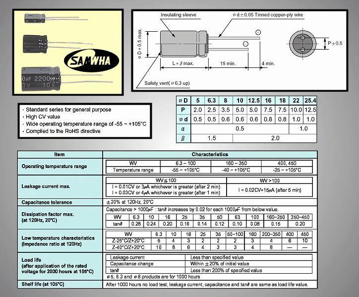 ELKO 1000uF 6.3V 105°C 8x11 álló 1000/6.3P-105 S