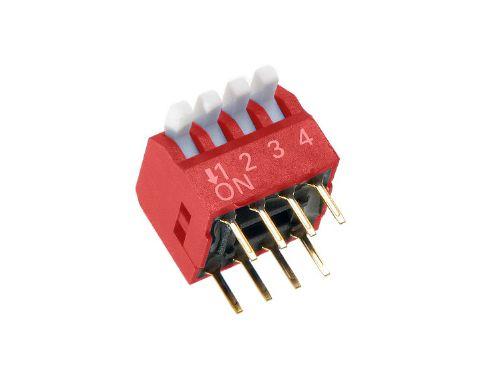 4 érintkezős DIP kapcsoló Piano, Red DS-04P R