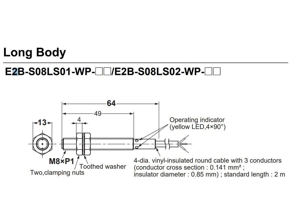 OMRON M8 Indukciós közelség érzékelő, NPN NO 2m vezeték 3p. IP67 E2BS08LS02WPC1 2M -