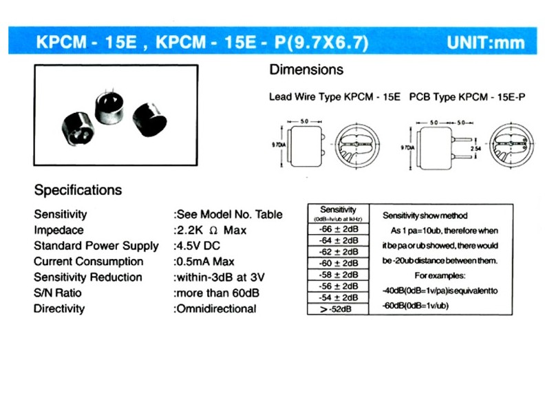 Elektret mikrofon 60dB (forr.)HI-FI MIKROFON 01/60
