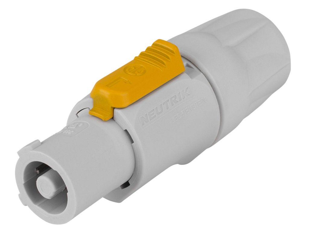 Gyors táp csatlakozó, biztosító karral, szürke, csavaros kábel rögzítés NTR-NAC3FCB