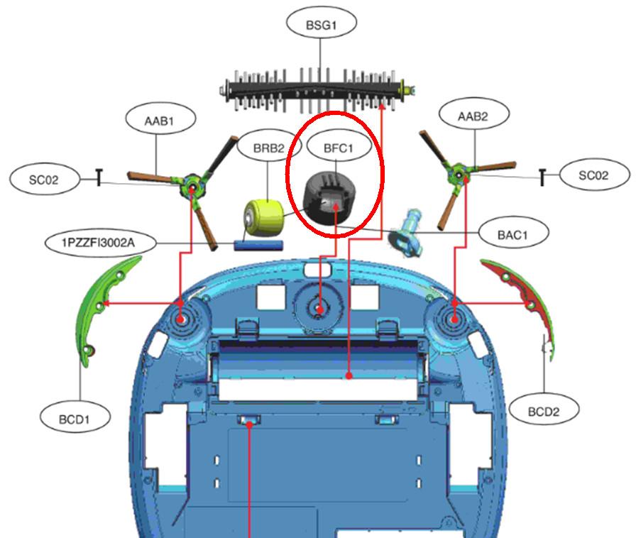 LG Robot porszívó bolygókerék műanyag ház W7-MDQ63196401