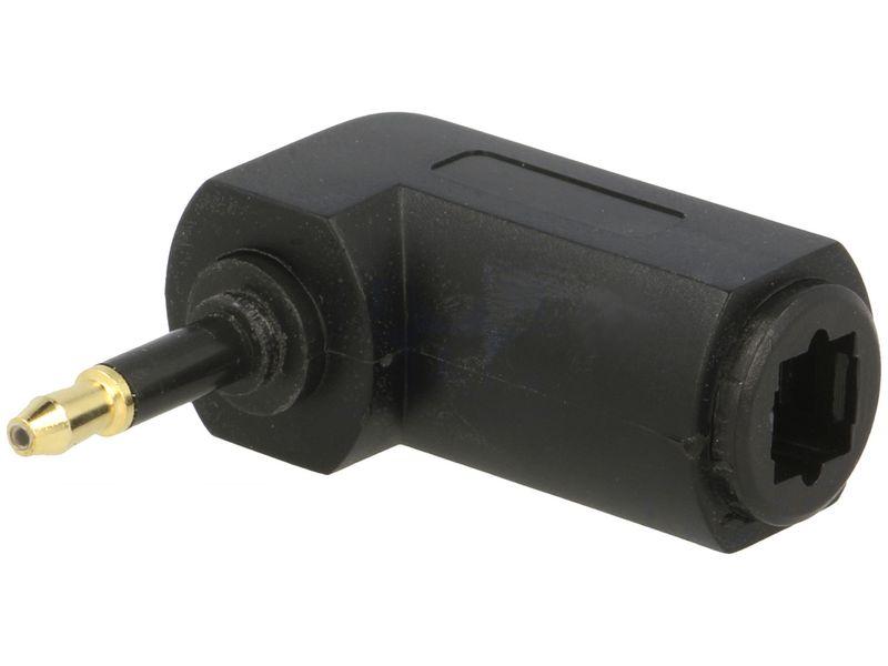 Optikai kábel toldó TOSLINK 3.5mm dugó- TOSLINK aljzat 90° AC-060