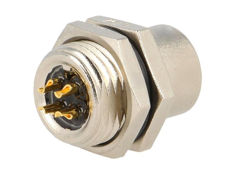 Csatlakozó aljzat, LTW M12 4p, beépíthető CSAT-M12A04F-PCB -