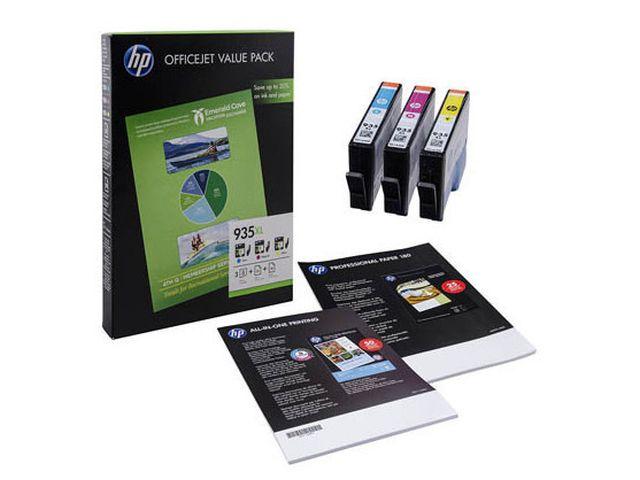 Tintapatron csomag: HP F6U78AE (935XL color multipack + papír) I000265
