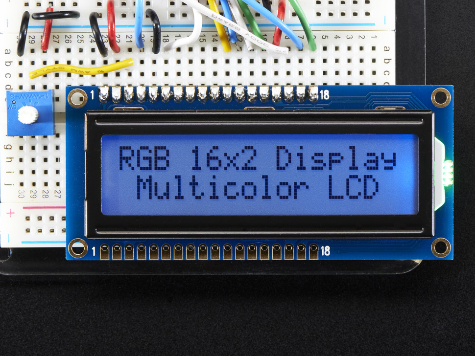 LCD pontmátrix kijelző 2x16 karakter 5*7 pont RGB háttérfény LCD A398-RGB