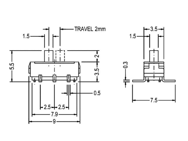 SMD toló mikrokapcsoló 2 poziciós ON-ON 9x3.5x3.5mm SW1000SP2/09-3 -