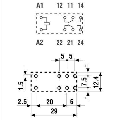 Relé 2x250V 10A/20A 24VDC 40.62.7.024.0000 RELAY-406270240000 -