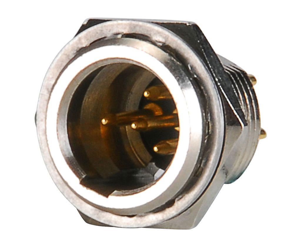 Mini XLR dugó 4p. (apa, hátlapba szerelhető anyacsavarral ) XLRM-AG4MCC