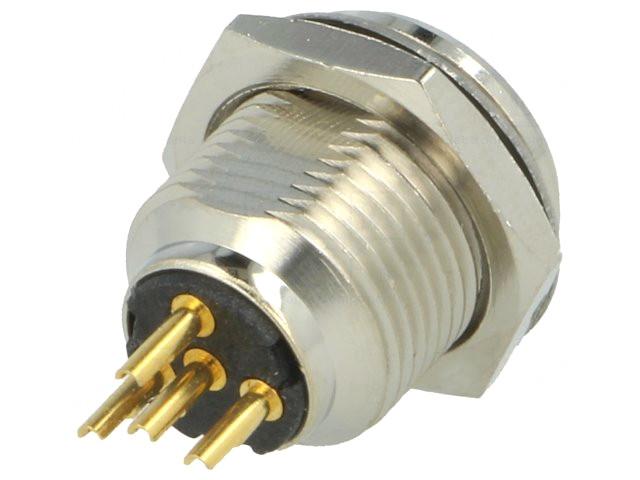 Mini XLR dugó 4p. (apa, hátlapba szerelhető anyacsavarral ) XLRM-AG4MCC -
