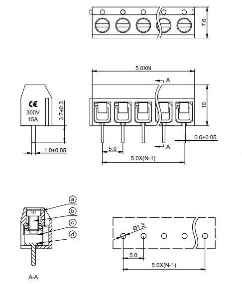 2 Pólusú sorkapocs 5mm nyákos 2,5...4mm2 (kék, sorolható) TB-002/5 B RECT