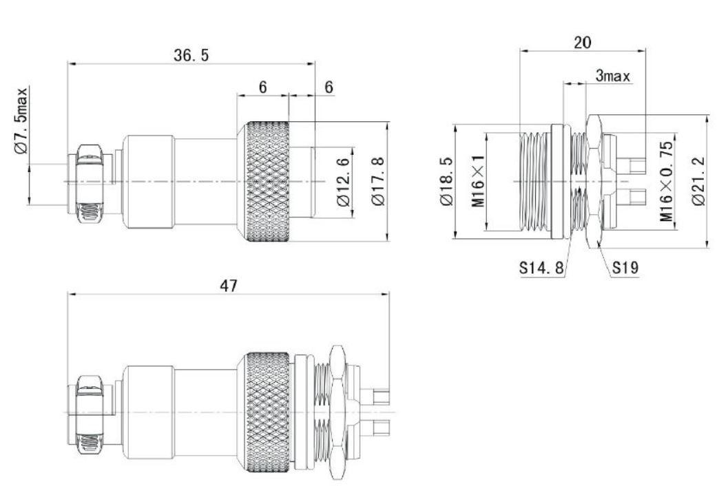MIC327, MIC337 M16 7p. csatlakozó pár, beépíthető dugó, lengő aljzat CSAT-M1607F+M