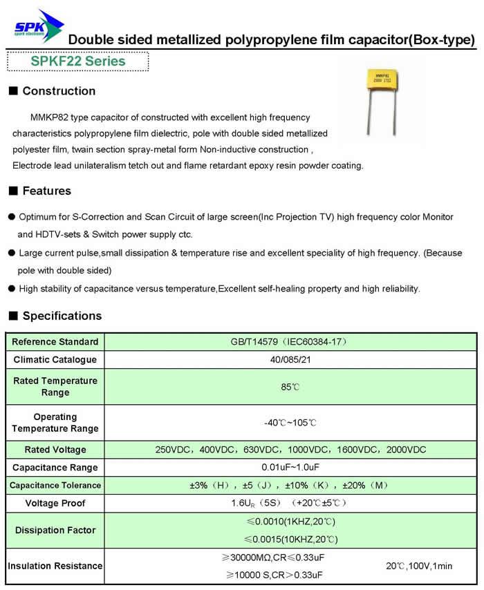 Kondenzátor 1nF 1000V 5% Polipropilén RM-10 C 1N 1000/MKP
