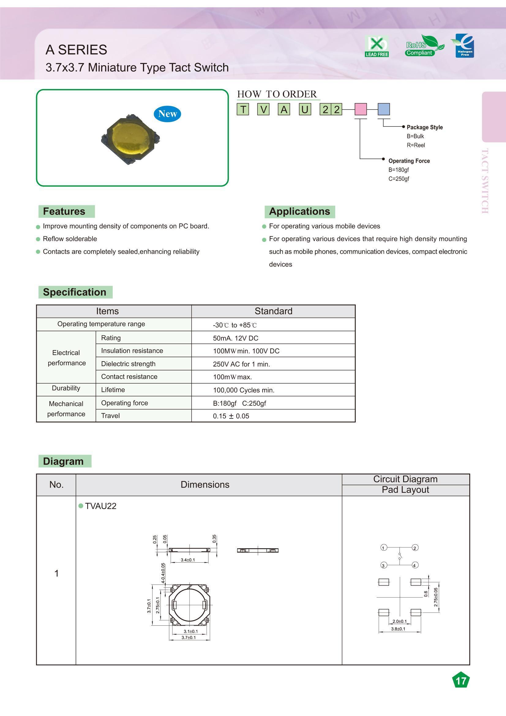 SMD Mikrokapcsoló 3.7x3.7x0,25mm 4p. szupervékony SW1000SL37 -