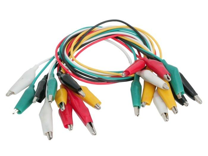 37cm krokodilcsipeszes kábel készlet 10db vegyes szín DEV CABLE ALIGATOR 02