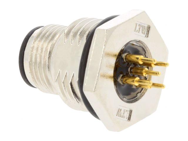 Csatlakozó dugó, LTW M12 5p, beépíthető CSAT-M12A05M-PCB