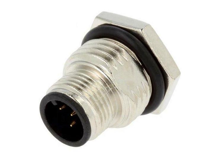 Csatlakozó dugó, LTW M12 5p, beépíthető CSAT-M12A05M-PCB -