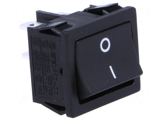 Billenő kapcsoló, fekete, 2 áramkörös, I/O jelzéssel 6A 250V, saru: 4,8 SW2200/06B