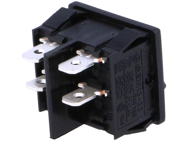 Billenő kapcsoló, fekete, 2 áramkörös, I/O jelzéssel 6A 250V, saru: 4,8 SW2200/06B -