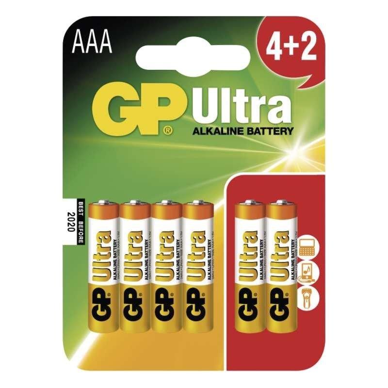 1.5V 4db+2db LR03 AAA Ultra alkáli elem BAT LR3/4 GP.U+2