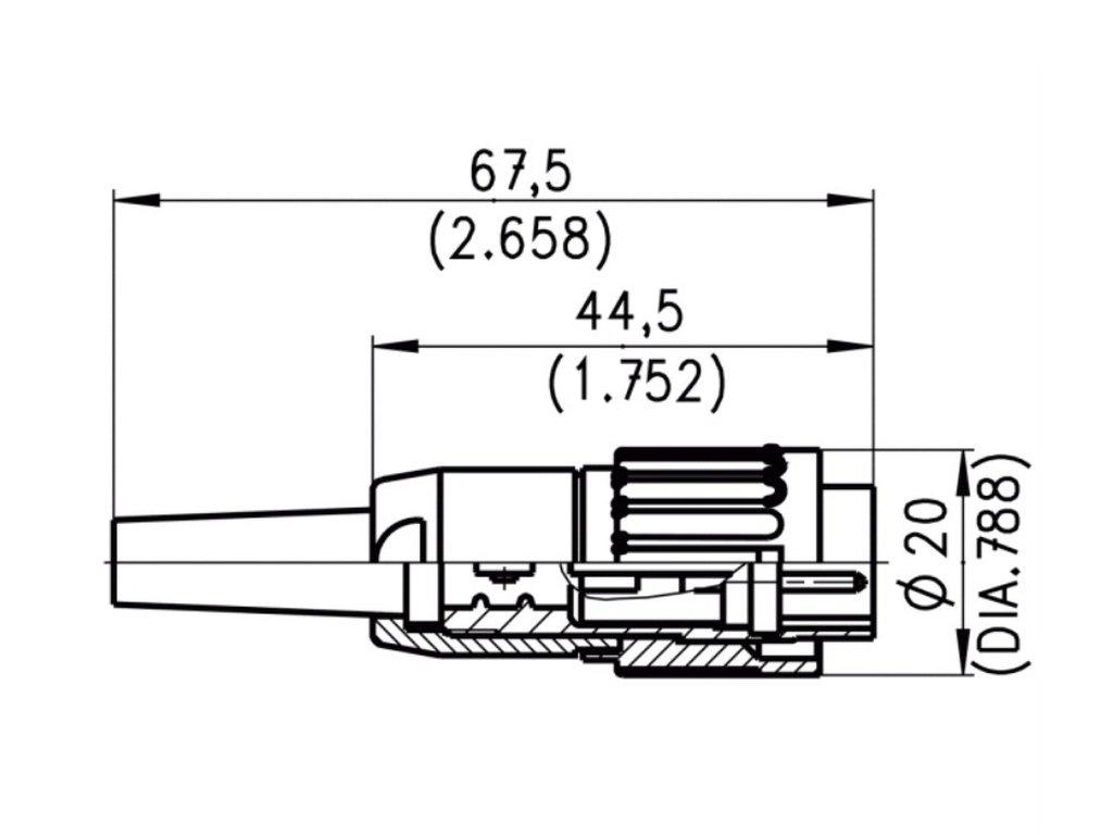 7p DIN dugó 360° lengő, belső BAYONET-zár AMPHENOL DNC-007-A -