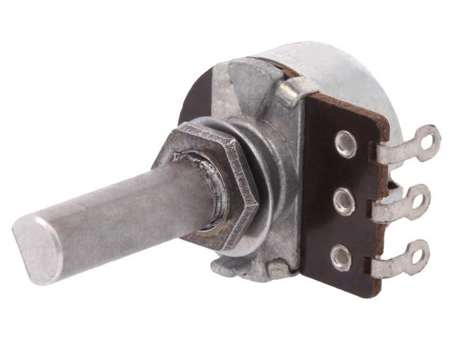 Potméter 10K lineáris mono, tengely 18mm, D profil JPM-95/10K-LIN-2