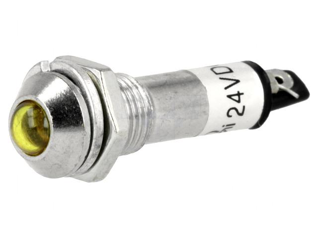 LED5 indikátor sárga, fém domború, IP40, 24Vdc, furat:8.2mm LAMP LED IND8-24Y/D