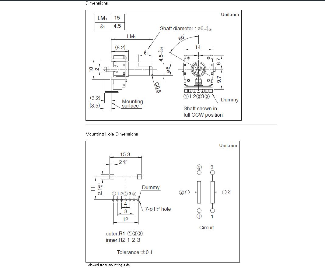 Potméter sztereo 2x 10K 15mm tengely vertical POT.RK14K1230A2X -