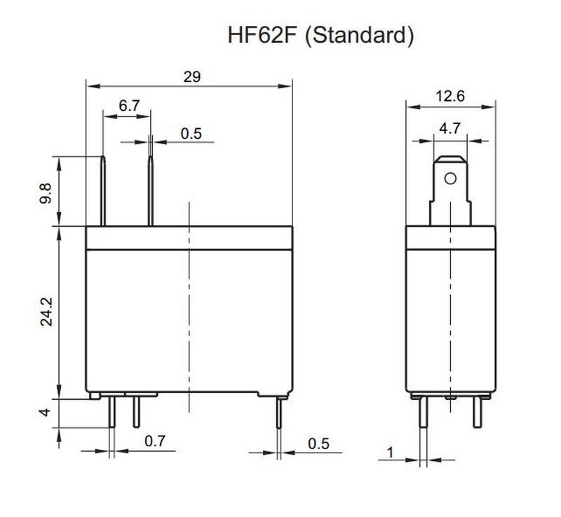 RELAY 1x250VAC 16A 12VDC HF62F/012-1HF +2db Sarus RELAY-HF62F012-1HF -