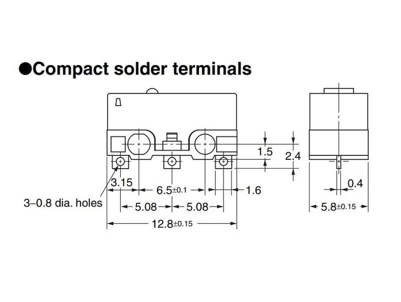 Mikrokapcsoló ON-(ON) 3p. 12.8 x 5.8 x 6mm SW11504LKH -