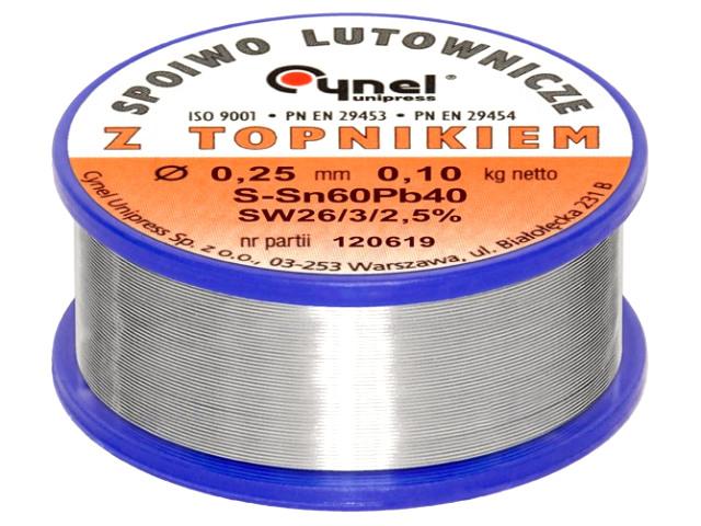 Forrasztó ón 0.25mm Sn60/Pb40% 100g Flux 2.5% TIN 100GR 0.25/2.5