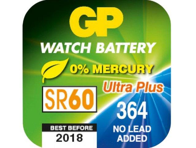 1.55V Ezüstoxid óraelem GP 364, 364F, B3364F, SR60, V364 Ultra Plus BAT SR60