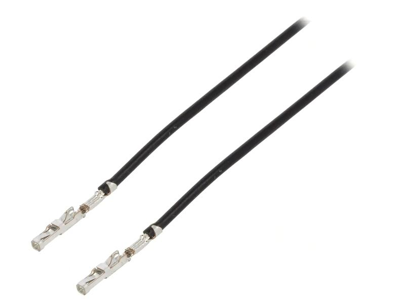 Egysoros csatlakozó tű (ónozott) 30cm fekete kábel két végén előre krimpelt CABLE-10M00-30CMFF