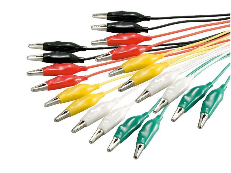 48cm krokodilcsipeszes kábel készlet 10db vegyes szín DEV CABLE ALIGATOR 03
