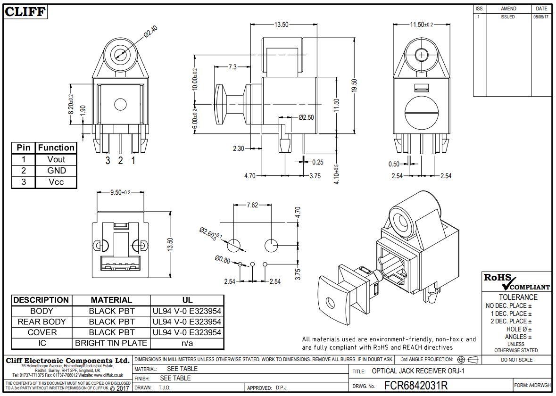 Toslink aljzat, optikai vevő, OTJ-1 FCR6842031R