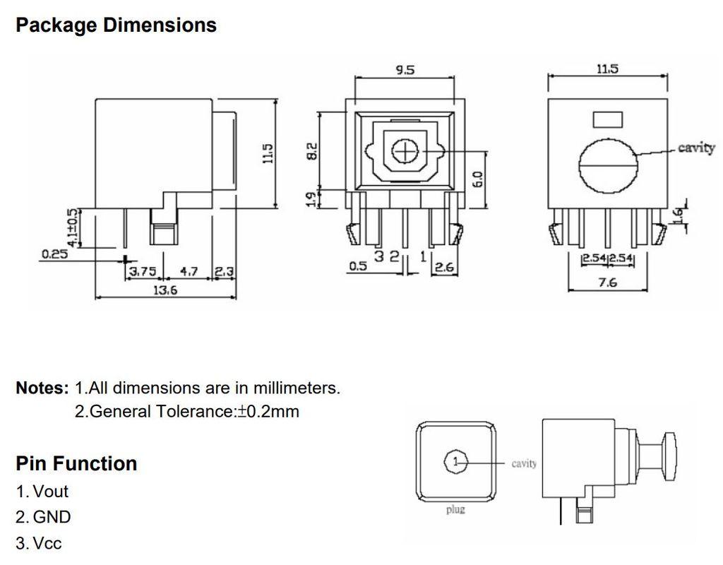 Toslink aljzat, optikai vevő, OTJ-3 FCR6842032R