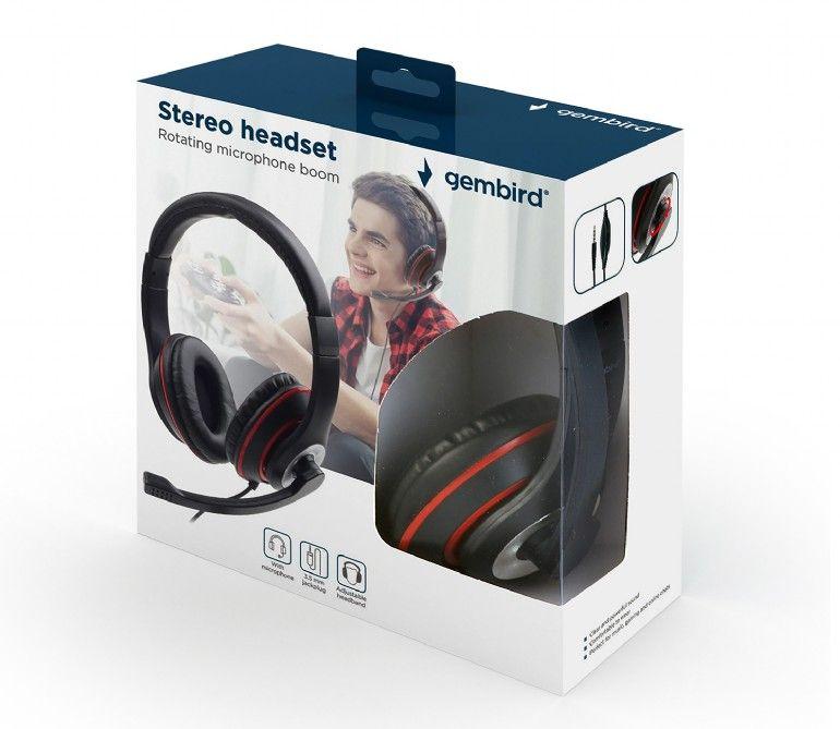 Mikrofonos sztereo fejhallgató smartphone-kompatibilis 3.5mm jack HEAD PHONE MHS03-BKRD -