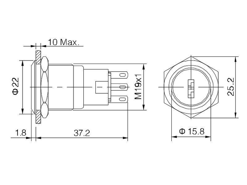 Kulcsos kapcsoló, 1 áramkörös ON/(ON) 0.5A...1A KS-V19KEY23S