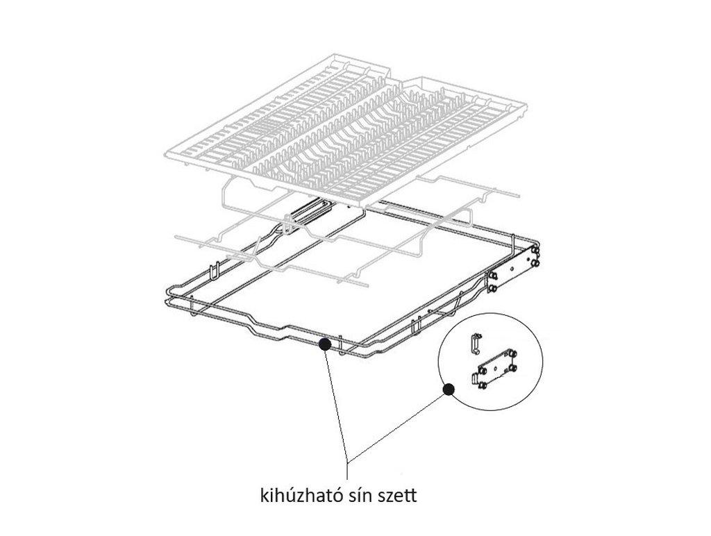 Miele mosogatógép felső tálca kihúzható sín szett M4-4804051