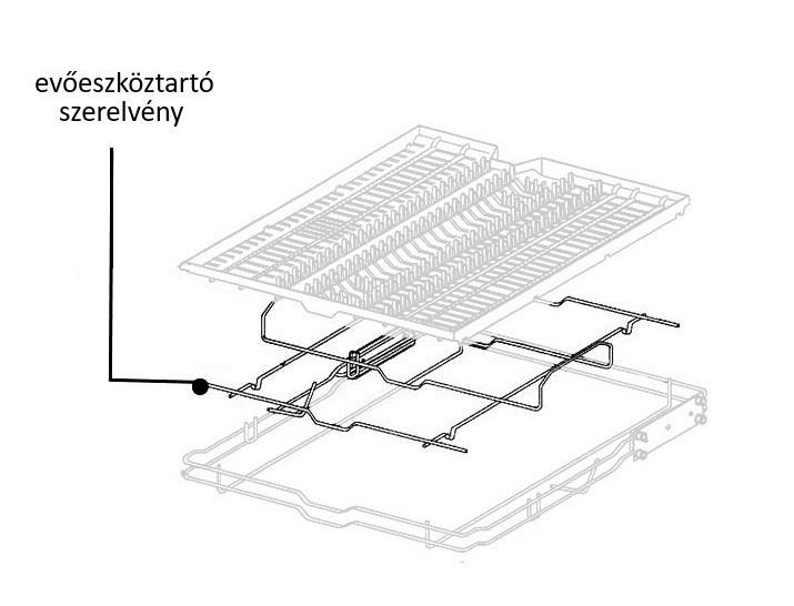 Miele mosogatógép felső evőeszkörztartó szerelvény SCI modellhez M4-4804071
