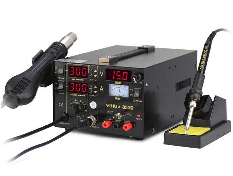 Analóg szabályzású hőlégfúvó-páka-labortáp az egyben állomás Yihua-853D SOLD.YH-853D