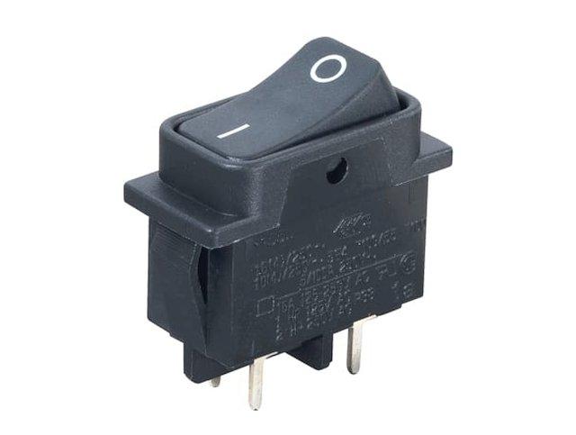 Billenő fekete MIDI 2 áramkörös kapcsoló ON-OFF I/O jelzéssel 16A SW2163-2PCB